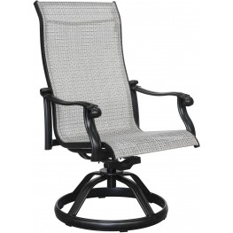Versailles Onyx Outdoor Sling Swivel Chair Set of 2