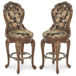 Oppulente Sienna Spice Swivel Barstool Set of 2