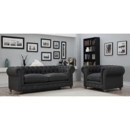 Oxford Gray Linen Living Room Set