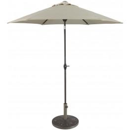 Umbrella Accessories Beige and Dark Brown Medium Auto Tilt Umbrella with Taupe Umbrella Base
