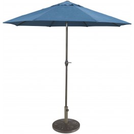 Umbrella Accessories Blue and Beige Medium Auto Tilt Umbrella with Taupe Umbrella Base