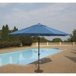 Umbrella Accessories Blue and Beige Medium Auto Tilt Umbrella with Dark Brown Umbrella Base