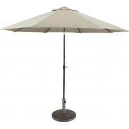Umbrella Accessories Beige and Dark Brown Large Auto Tilt Umbrella with Taupe Umbrella Base