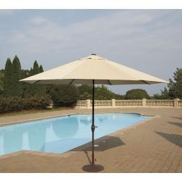 Umbrella Accessories Beige and Dark Brown Large Auto Tilt Umbrella with Dark Brown Umbrella Base