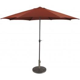 Umbrella Accessories Burnt Orange Large Auto Tilt Umbrella with Taupe Umbrella Base