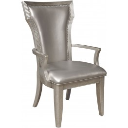 Couture Silver Upholstered Arm Chair Set of 2