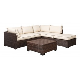 Loughran Beige and Brown Outdoor Sectional with Table