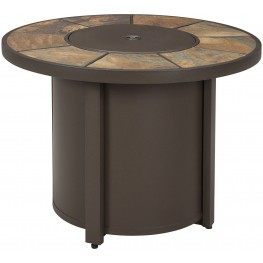 Predmore Beige and Brown Outdoor Round Fire Pit Table