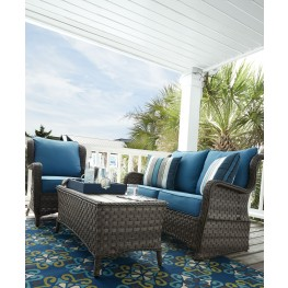 Abbots Court Blue and Gray Outdoor Conversation Set