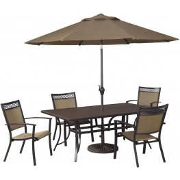 Carmadelia Tan and Brown Outdoor Rectangular Dining Room Set