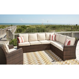 Salceda Beige and Brown Sofa Sectional and Chair With Cushion Set of 3