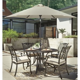 Burnella Beige and Brown Outdoor Round Dining Room Set