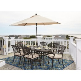 Burnella Beige and Brown Outdoor Rectangular Dining Room Set