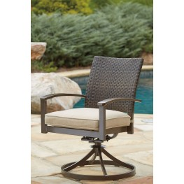 Moresdale Brown Outdoor Swivel Chair Set of 2