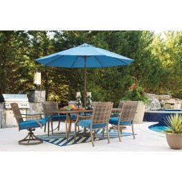 Partanna Blue and Beige Outdoor Rectangular Dining Room Set