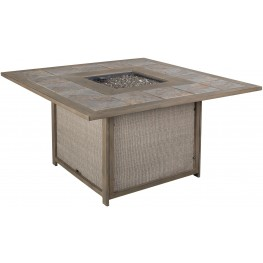Partanna Blue and Beige Outdoor Square Fire Pit Table