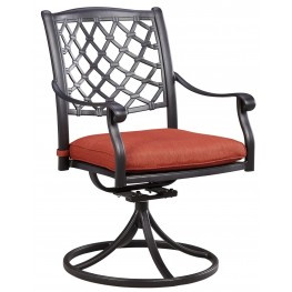 Tanglevale Burnt Orange Outdoor Swivel Chair Set of 2