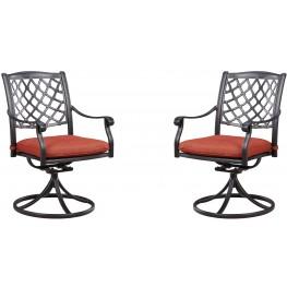 Tanglevale Burnt Orange Outdoor Swivel Chair Set of 2