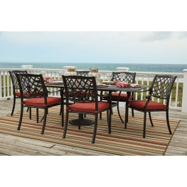 Tanglevale Burnt Orange Outdoor Extendable Rectangular Dining Room Set
