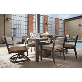 Peachstone Beige and Brown Outdoor Rectangular Dining Room Set