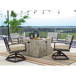 Peachstone Beige and Brown Square Fire Pit Outdoor Dining Set