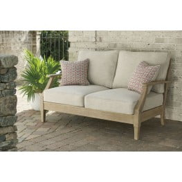 Clare View Beige Outdoor Loveseat with Cushion