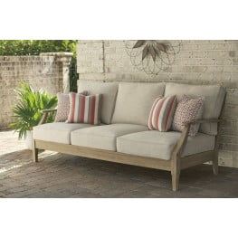 Clare View Beige Outdoor Sofa with Cushion