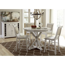 Willow Distressed White Round Counter Height Dining Room Set ...