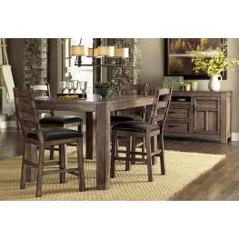 Boulder Creek Pecan Veneer Counter Dining Room Set