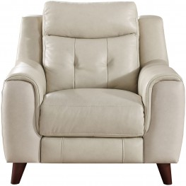 Paramount Cream Leather Power Recliner with Power Headrest
