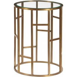 Geometric Brass Glass Top Accent Table