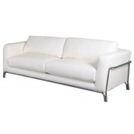 Perch White Leather Sofa