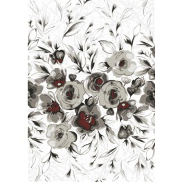 Platinum White/Grey/Red Rose Large Rug