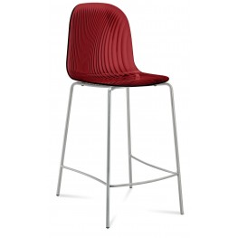 Playa Transparent Bordeaux Red Steel Stool