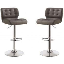 Grey Upholstered Adjustable Bar Stool Set of 2