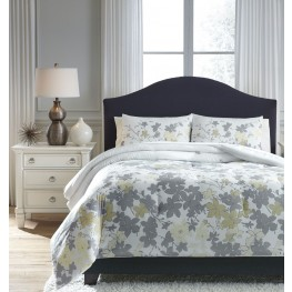 Maureen Gray and Yellow Queen Comforter Set