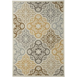 Lacy Brown and Gold Large Rug