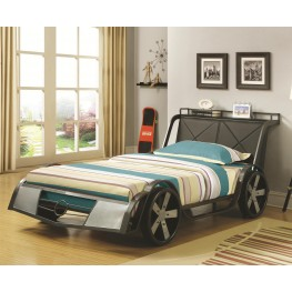 Race Car Wood Veneers Twin Metal Bed