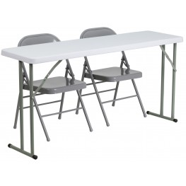 "18"" Plastic Folding Training Table with 2 Gray Metal Folding Chairs"