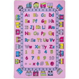 Abbey Alphabet and Pink Small Area Rug