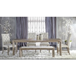 Rivet Gray Wash Rectangular Extendable Leg Dining Room Set with Wilshire Dining Chairs