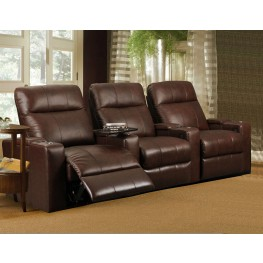 Plaza Brown Bonded Leather Power Reclining Straight Row 3 Seats Home Theater Seating