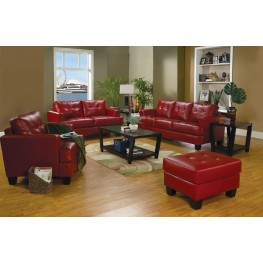Samuel Red Leather Living Room Set   501831