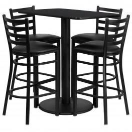 "24"" Rectangular Black Table Set with 4 Ladder Back Black Vinyl Bar Stools"