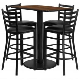 "24"" Rectangular Walnut Table Set with 4 Ladder Back Black Vinyl Bar Stools"