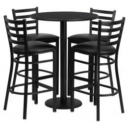 "30"" Round Black Table Set with 4 Ladder Back Black Vinyl Bar Stools"