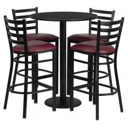 "30"" Round Black Table Set with 4 Ladder Back Burgundy Vinyl Bar Stools"