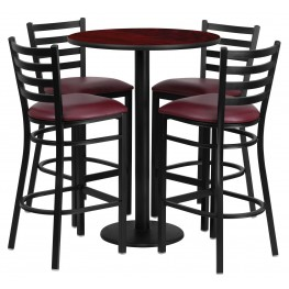 "30"" Round Mahogany Table Set with 4 Ladder Back Burgundy Vinyl Bar Stools"