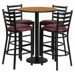 "30"" Round Natural Table Set with 4 Ladder Back Burgundy Vinyl Bar Stools"