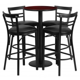 "24"" Round Mahogany Table Set with 4 Ladder Back Black Vinyl Bar Stools"